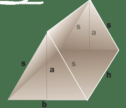 Ισοσκελές τριγωνικό πρίσμα. Όγκος -Μαθηματικός τύπος